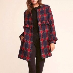JACK NWT Revolve Swag Out Plaid Ruffle Coat Red M